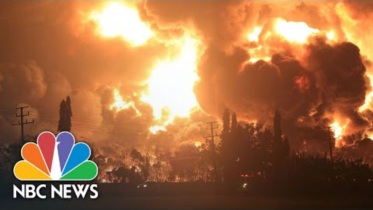 Watch: Huge Fire Follows Explosion At Indonesian Oil Refinery | NBC News NOW